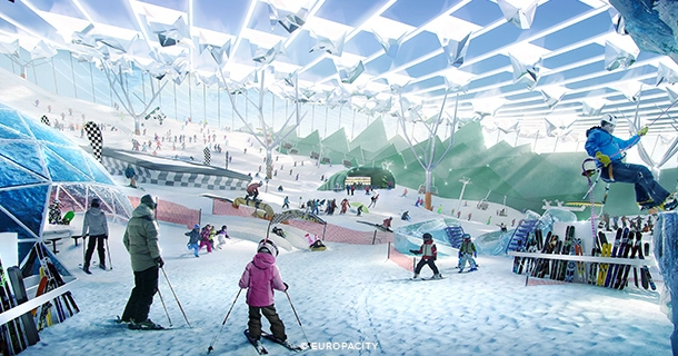 THIS RENDERING SHOWS A PROPOSED SNOW SKIING AREA AT EUROPAPARK
